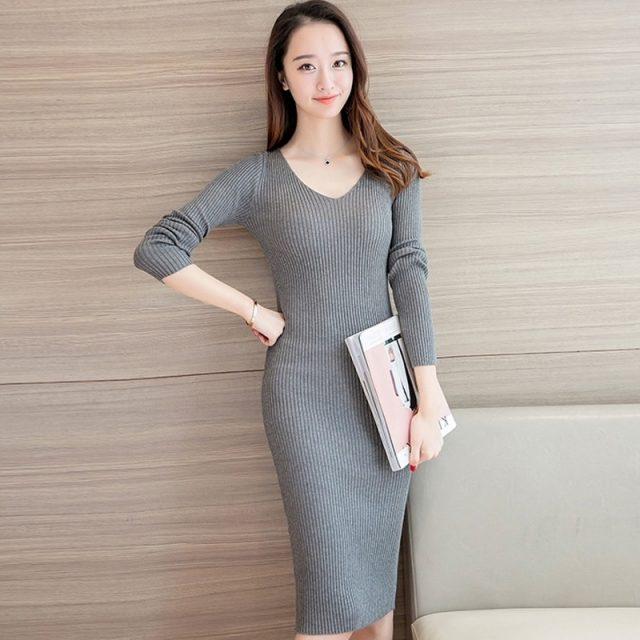 Vangull Women Knitted Dress Casual New Style Female Long V-Neck Dresses 2019 Autumn Winter Long Sleeve Solid Sheath Soft Dresses