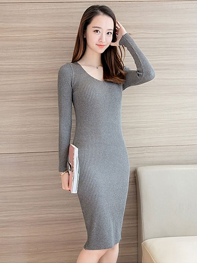 Vangull Women Knitted Dress Casual New Style Female Long V-Neck Dresses 2019 Autumn Winter Long Sleeve Solid Sheath Soft Dresses