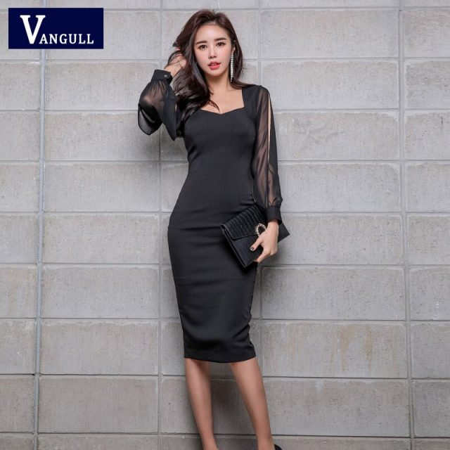Vangull Sexy Black Square Collar Hollow Out Pencil Dress Women 2019 Spring Split Lantern Sleeve OL Fitted Sheath Bodycon Vestido