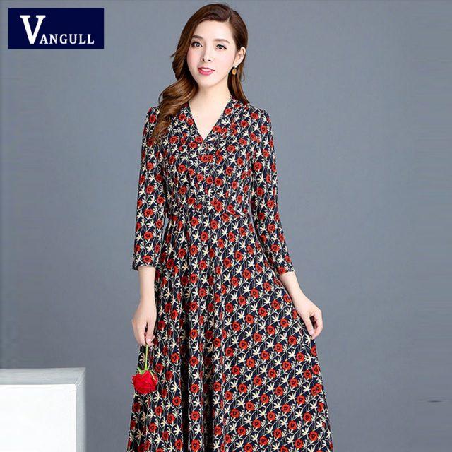 VANGULL 2019 Spring Summer New Fashion Women Flower Dress Female V-Neck Long Sleeve Dress Floral Print Long Loose A-line Dresses