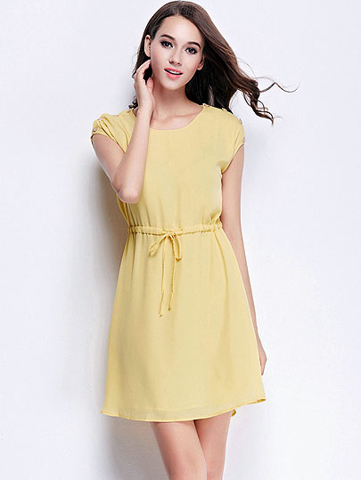 2017 commute summer styles dresses sleeveless solid waist to cultivate temperament vintage chiffon dress