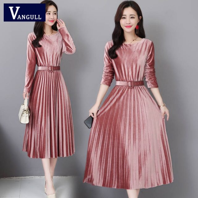 Vangull Women Velvet Dresses Solid Pleate Elegant Female Dress Autumn Winter 2019 New Long Sleeve Slim Evening Party Dresses
