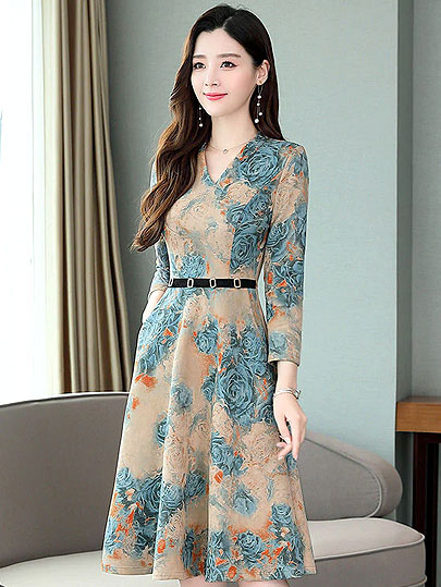 Vangull Women Vintage Boho Floral Printed Dress 2019 New Spring Autumn V Neck Party Dress Elegant Plus size Summer A Line Dress