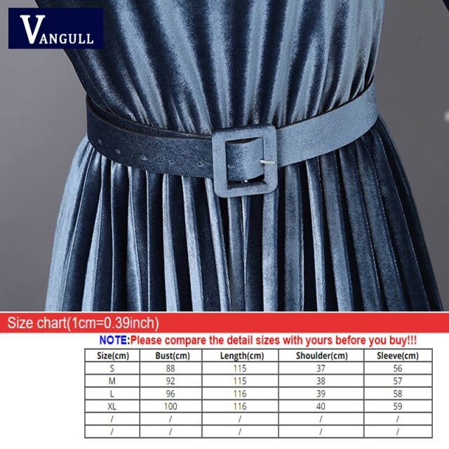 Vangull Women Velvet Dresses Solid Pleate Elegant Female Dress Autumn Winter 2019 New Long Sleeve Slim Evening Party Dresses