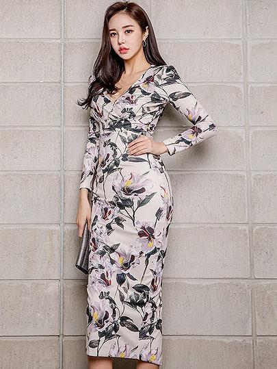 Vangull Sexy V-neck Floral Print Pencil Bodycon Dress Women Spring Elegant Full Sleeve Split Female Dress Casual OL Vestidos