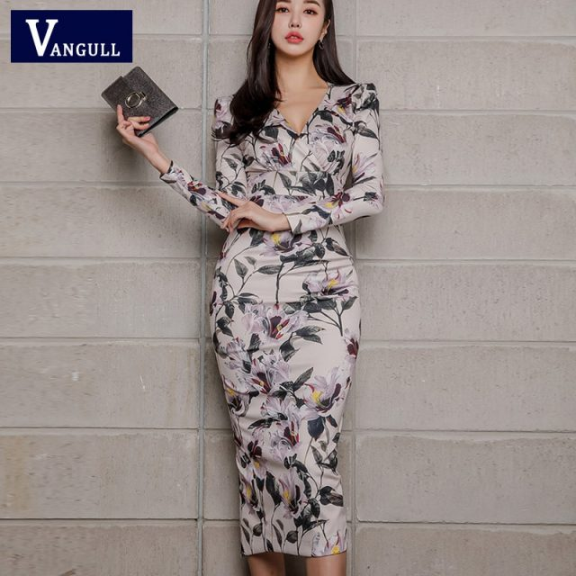 Vangull Sexy V-neck Floral Print Pencil Bodycon Dress Women Spring Elegant Full Sleeve Split Female Dress Casual OL Vestidos