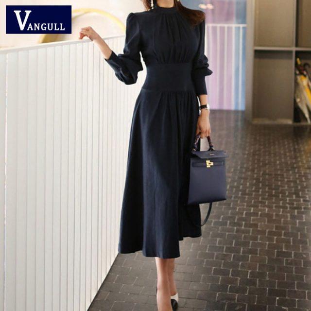 Vangull Office Ladies Stand Collar Lantern Sleeve Women Dress Elegant Slim Waist A-line Ruched Female Long Dress Party Vestidos