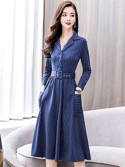 Vangull Stripe Women Maxi Dress Office Lady Elegant  Dress Turn-Down Collar Long Sleeve 2019 New Autumn Button Sashes Dress