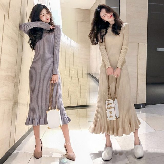 Vangull Women Sweater Dress Autumn Winter Clothes New Fashion Ruffle Long Sleeve Knitted Dress Women Casual Knee Length Dress