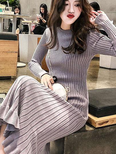 Vangull Women Sweater Dress Autumn Winter Clothes New Fashion Ruffle Long Sleeve Knitted Dress Women Casual Knee Length Dress