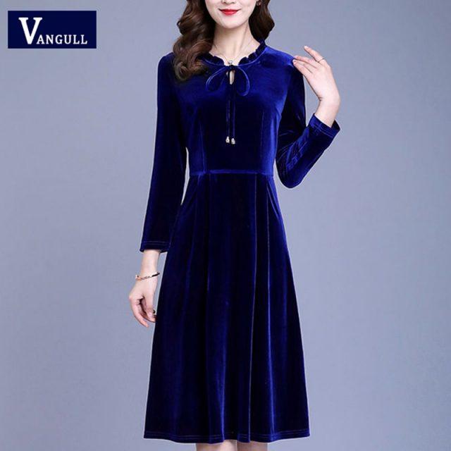 Vangull Spring New Gold velvet Women Dress 2019 Autumn Fashion Solid Female V-Neck Long Sleeve Bow Lace-up Loose A-line Dresses