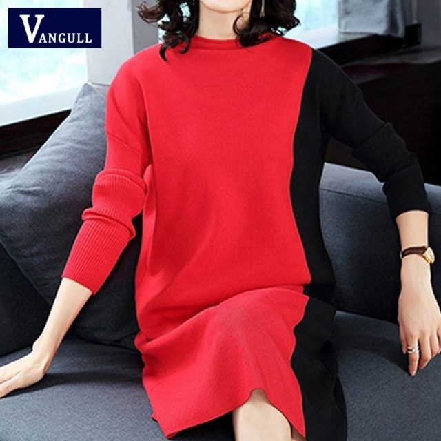 Vangull Women Knitted Dresses Long Sleeve Patchwork Dress 2019 Autumn Winter New Fashion Turtleneck Elegant Loose Ladies Dress