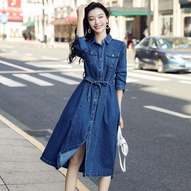 Vangull Women Denim Solid Dress 2019 New Autumn Winter Female Casual High Waist Turn Down Collar A-Line Long Jeans Dresses