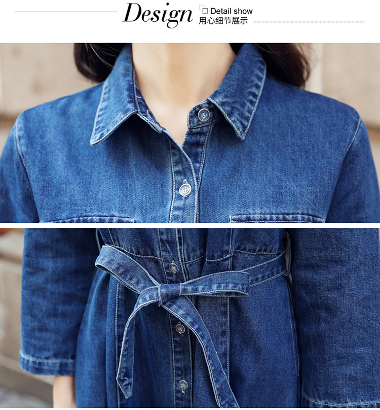 Vangull Women Denim Solid Dress 2019 New Autumn Winter Female Casual High Waist Turn Down Collar A-Line Long Jeans Dresses