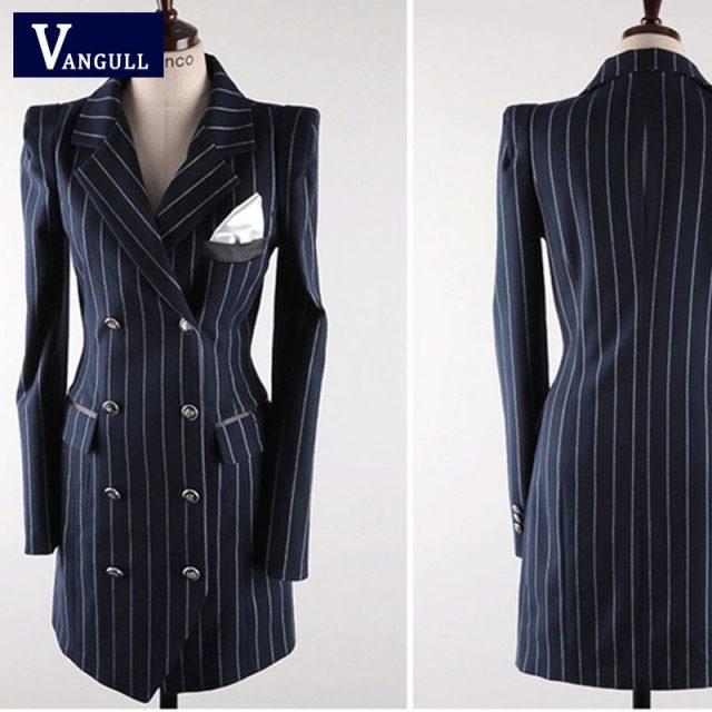 Vangull High Quality Office Lady Slim Striped Blazer New Split Sexy Notched Women Dress Elegant Work Suits Feminino Blazer