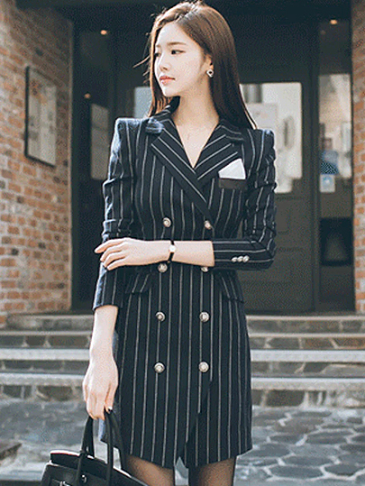Vangull High Quality Office Lady Slim Striped Blazer New Split Sexy Notched Women Dress Elegant Work Suits Feminino Blazer