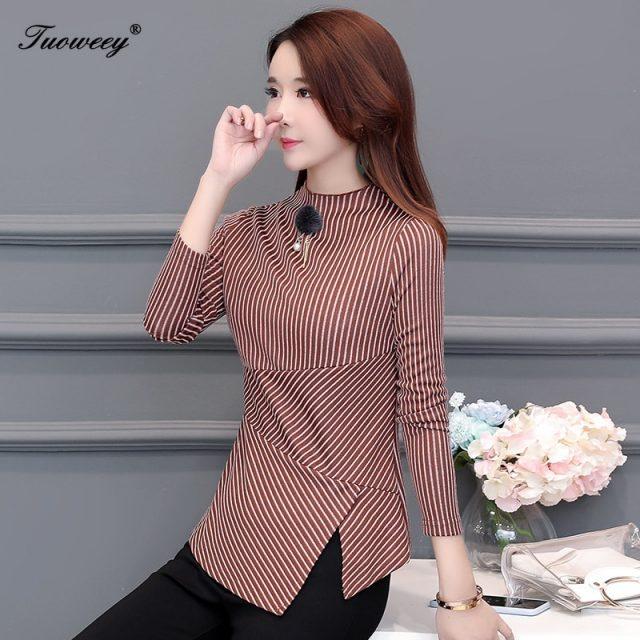 Autumn Women's Shirts Blue Striped Stand Collar Nine Quarter Irregular Button Split Slim Women Blouse Fashion 4XL Tide New