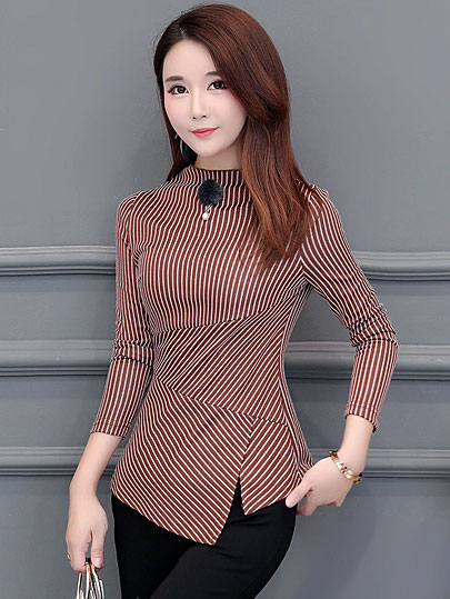 Autumn Women's Shirts Blue Striped Stand Collar Nine Quarter Irregular Button Split Slim Women Blouse Fashion 4XL Tide New