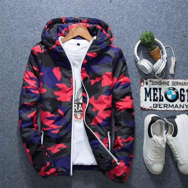 Mens Casual Camouflage Hoodie Jacket 2018 New Autumn Butterfly Print Clothes Men's Hooded Windbreaker Coat Male Outwear