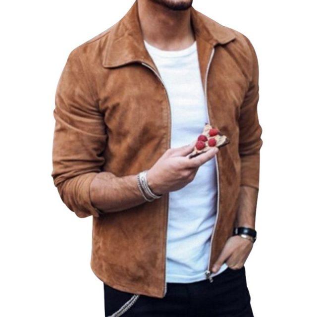 HEFLASHOR Fashion Men's Suede Leather Jacket Slim  Biker Motorcycle Jacket Coat Outwear Trendy Streetwear