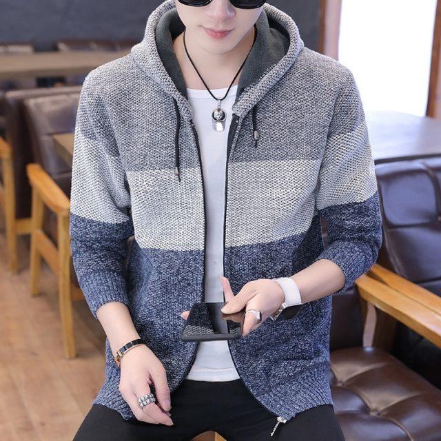 2020 Men's sweater jackets plus velvet thick warm patchwork coat spring Autumn Winter jacket men Clothes Streetwear M-3XL