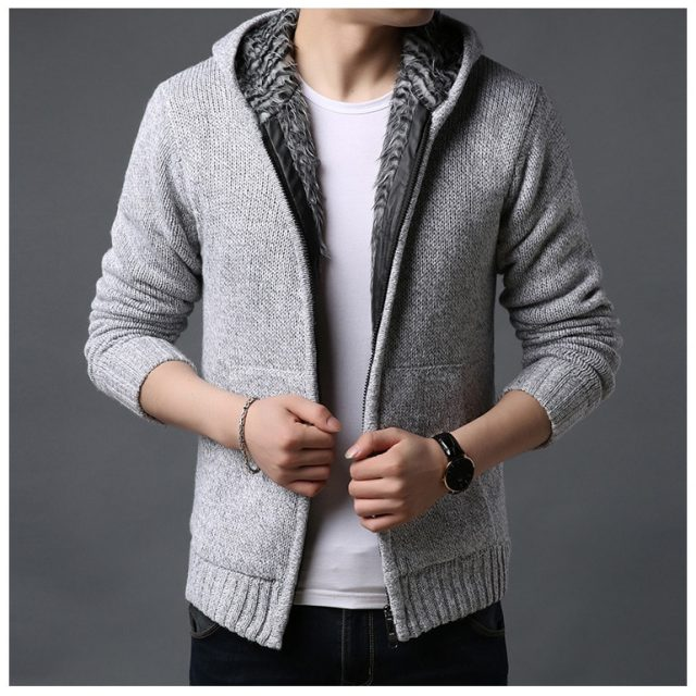 2020 Men's cashmere jackets spring Autumn Winter jacket coat men Streetwear Hooded mens coats knitted Sweater jackets M-3XL