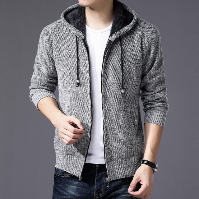 2020 Men's sweater jackets plus velvet turtleneck sweater spring Autumn Winter jacket coat men Streetwear Hooded mens jackets
