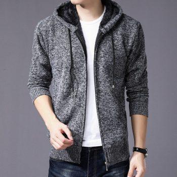 2020 Men's sweater jackets plus velvet turtleneck sweater spring Autumn Winter jacket coat men Streetwear Hooded mens jackets
