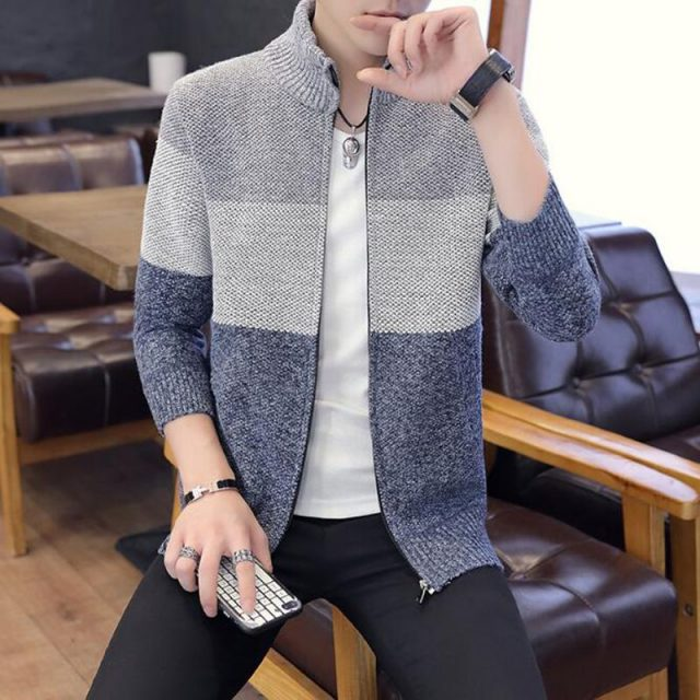 Men Sweater Coat Jackets thick plus velvet stand collar sweater autumn winter jacket Coat Men Streetwear M-3XL