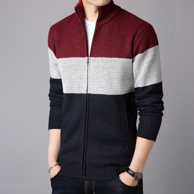 2020 Men Sweater Coat Jackets warm sweater pocket autumn winter coat patckwork jacket Men Streetwear M-3XL