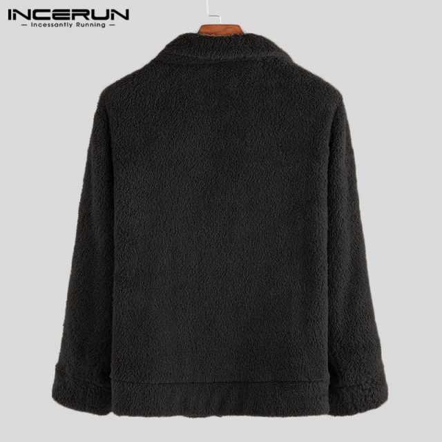INCERUN Men Fleece Jackets Coats Streetwear Long Sleeve Solid Lapel Outerwear Button Up Fluffy Fashion Winter Plush Overcoats 7