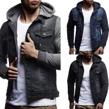 MJARTORIA  2019 New Denim Jacket Men Hooded Sportswear Outdoors Casual Fashion Jeans Jackets Hoodies Cowboy Mens Jacket Coat