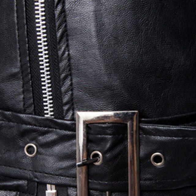 HEFLASHOR Autumn Winter Fashion Motorcycle Jackets Leather Fashion Moto Jackets Men Slash Zipper Lapel Biker Faux Leather Coat