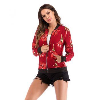 Spring Autumn Women Floral Bomber Jacket Plus Size Short Female Coat Zipper Chaqueta Outwear Long Sleeve Women's Jackets YWZ006