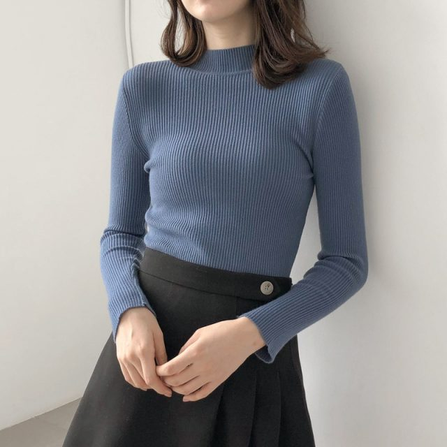 New Knitted Women Thin O-neck Sweater Pullovers Spring Autumn Basic Women Sweaters Pullover Slim Fit Black Cheap Top BZY035