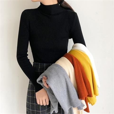2019 Autumn Winter Sweater Women Knitted Ribbed Pullover Sweater Long Sleeve Turtleneck Slim Jumper Soft Warm Pull Femme BZY003