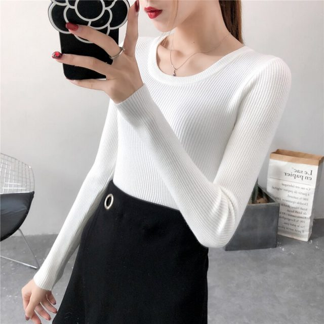 Winter Knitting Sweater Pullovers Women Long Sleeve Tops O-neck Knitted Sweater Chic Women Clothes Female Casual Sweaters BBE016