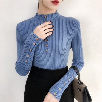 2019 Women Autumn Knitted Sweater Solid Knitted Female Cotton Soft Elastic Color Pullovers Button Full Sleeve Turtleneck BYT013