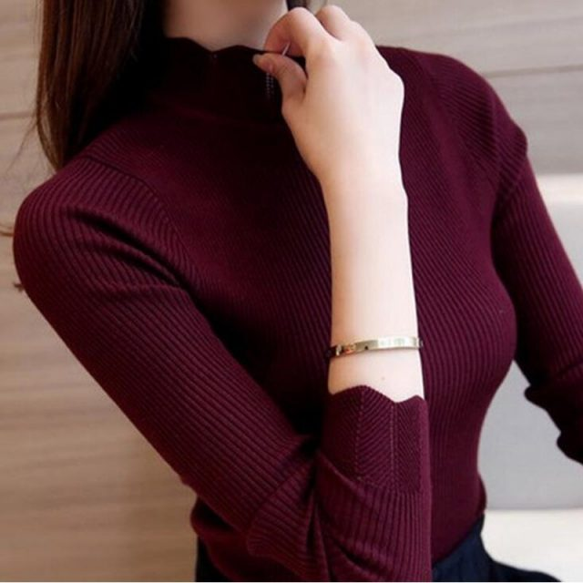 Autumn And Winter Sweater for women Long sleeve Solid color Pullover Lotus leaf collar Hollow Slim fit Sweater ZLM163