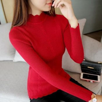 Knitting Women Sweaters Pullovers Solid Color Turtleneck Slim Casual Ladies Knitted Sweater Winter New Chic Lace Pullover BZY012