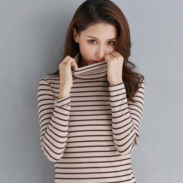 Autumn And Winter High collar stripe shirt Female Long sleeve loose Korean version Top cotton Wild Slim fit pullover LYF01