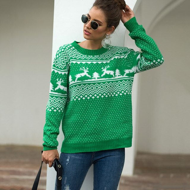 Christmas Women Sweater 2019 Elk Print Pullover Sweaters Autumn Winter Tops Clothing Female Long Sleeve Knit Casual Tops BMY003