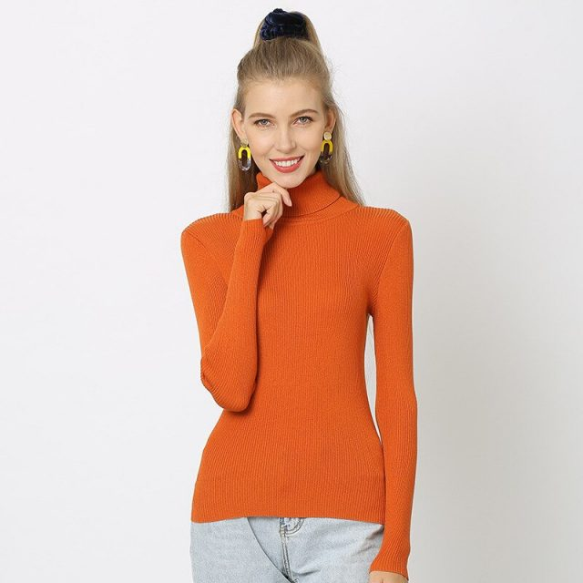 2019 New Women 30% Wool Turtleneck Sweater Fall Winter Jumper Render Knit Basic Pullover Solid Color OL Lady Knitted Tops PZH001
