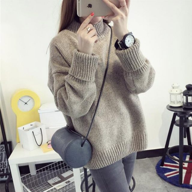 Autumn And Winter Korean version Solid color thick line Half high collar Pullover Female Loose Thicken Women's sweater PZ01