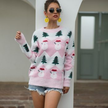 Autumn Winter Velvet Sweaters Women O Neck Long Sleeve Casual Pullovers Female Fashion Snowman Ladies Knitted Jumpers BMY005