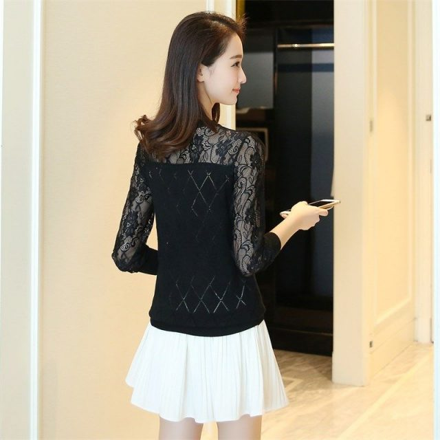Women Autumn Pullovers Sweaters Fashion Knitted 2019 New Knitting Long Sleeve Pull Ladies Jumper Female Lace Hollow Out Sweater