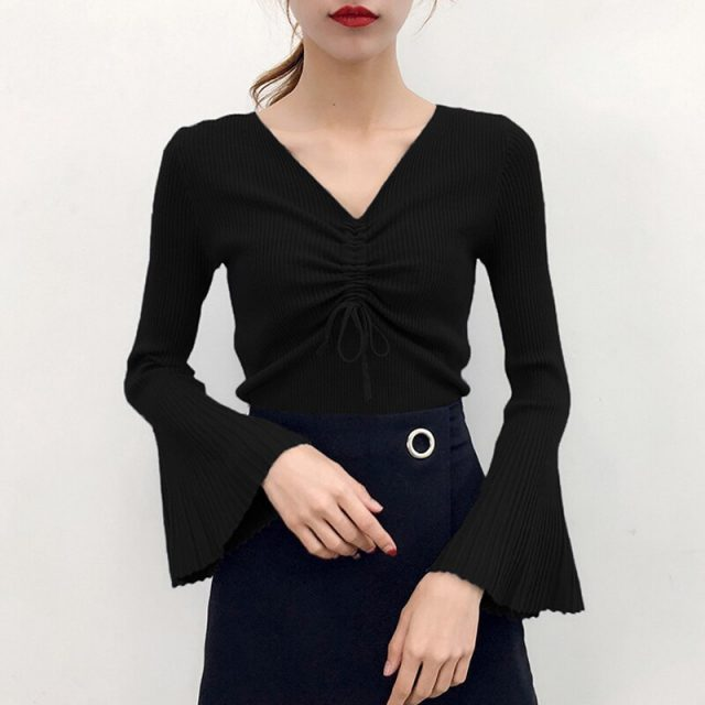2019 Autumn Winter Women's Knitted Sweater Sexy V-neck Flare Sleeve Sweaters for Women Drawstring Pullovers Womens Jumper BZY016