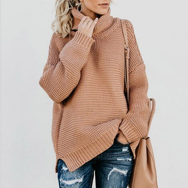 2019 Autumn Winter Female Europe and America sweater Thick line Long sleeve Solid color High neck pullover YXH675