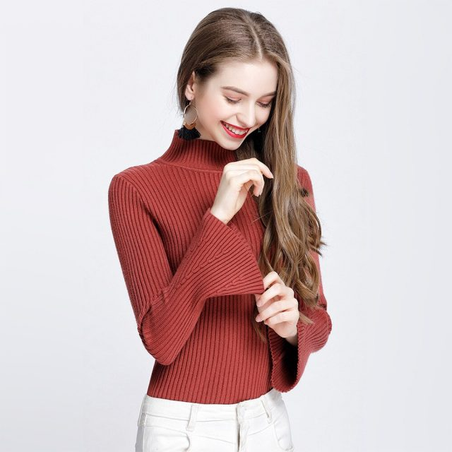 Flare Sleeve Sweaters And Pullovers Autumn Winter Knitted Sweater Women 2019 New Fashion Korean Style Female Long Sleeve Jumper