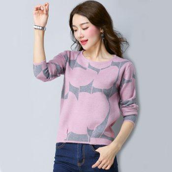 New Women Sweaters Plus Size Knitted Pullovers Sweater Female Long Sleeve Winter Sweater for  Female Knit Bottom Tops SJC005